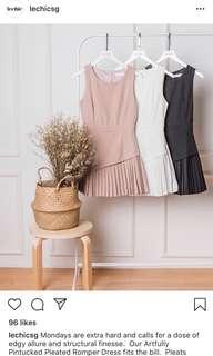 Lechic Artfully Pintucked Pleated Romper dress, skorts in mink, nude, beige pink