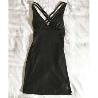 G.L.A.M. Sequin Deep-V Halter Dress; Size Small