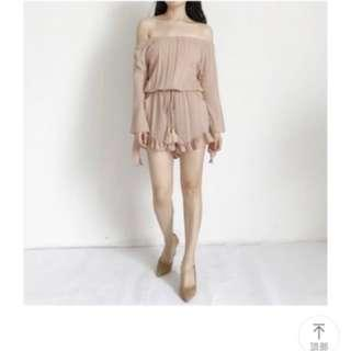 Off shoulder Long sleeves romper dress, skorts in nude, pink beige