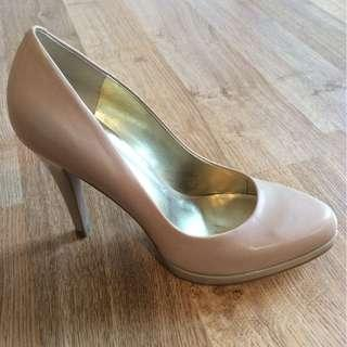 Nine West Nude Leather Heels; Size 5 1/2