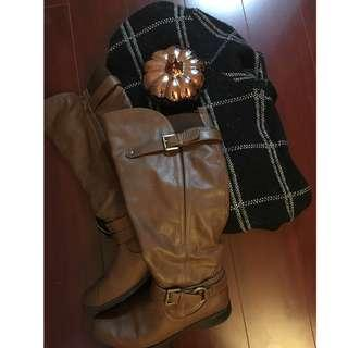 Very Lightly used Call it Spring Cognac Buckled boots (only used a handful of times because they are not my size...but are sooo cute!)- Size 8 (accessories not sold...only shoes)