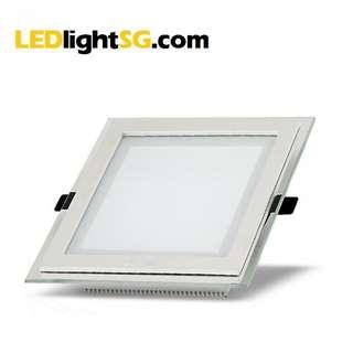 12W LED Glass Panel Downlight 1yr Warranty Taiwan Chip & Driver Square (White / Warm White)