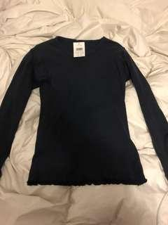BNWT Brandy Melville Lettuce Edge Long Sleeve Top (Navy Blue)