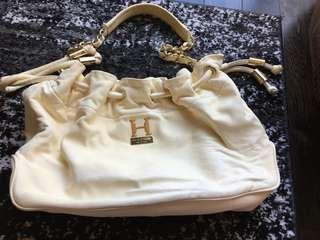Halston Heritage Ivory Leather Bag