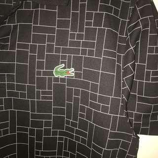 Jual men's polo shirt Lacoste hitam ukuran M