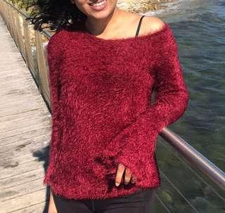 Maroon SFERA Fluffy Sweater