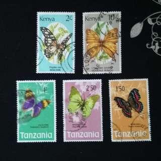 #5 Kenya Tanzania Butterfly Stamps