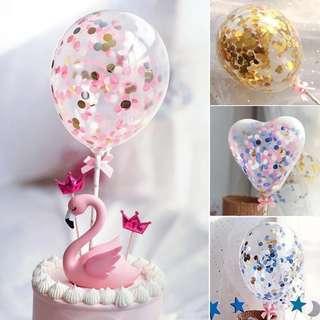 生日氣球 🎀 happy birthday balloon 粉紅 藍色 金片 bling bling 閃粉 珠片 party 生日禮物 生日蛋糕 插牌 裝飾