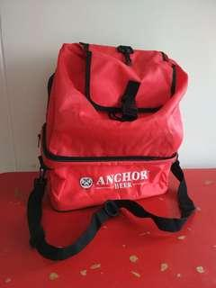 🚚 [WTS] Anchor Beer Foldable Storage Case Cum Drawstring Bag. Suitable for Sports,  Outdoor Gathering,  Kids at School. Storage Compartmt Sz Abt 12 x6 Inch. See All Pics.