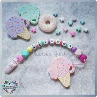Handmade Pacifier Clip with customisation of name + Pink ice cream Teether