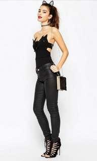 A very beautiful one piece bodysuit catsuit black cats