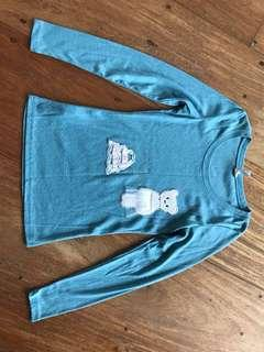 COOL'S of Vintage - blue green bear sweater