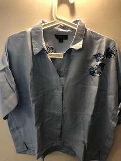 Top shop 短身藍色上衣