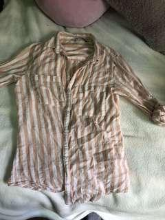 Cotton On Peach Striped Button Up Long Sleeve Top