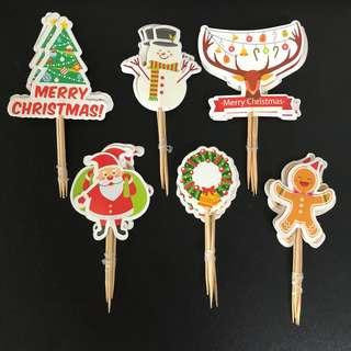 New merry christmas party Cupcake Toppers cake decorations eve party new year merry christmas