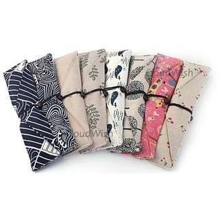 [Ready Stock] Eco-friendly Reusable Cloth Pouch Metal Bamboo Glass Straw Cutlery Chopstick Fork Spoon Pouch