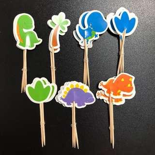 New 21PCS Cake Topper cupcakes topper dinosaurs good dino decoration birthday party supplies