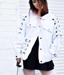Boohoo white denim eyelet jacket