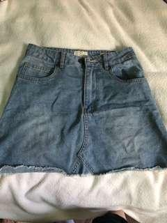 A line mini denim skirt size 8