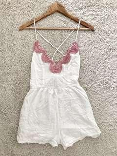 SALE!!!! REPRICED!!!White Romper with pink lace