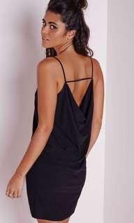 Misguided Cowl Black Slip Dress