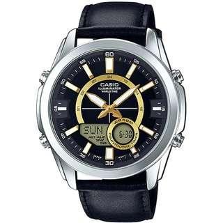 Casio AMW-810L Analog Digital Men Genuine Leather 10 Years Battery Watch