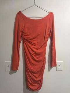 🖤 KOOKAI Long Sleeve Orange Mini Dress Ruched Sides Low Back Size 2 (10-12)