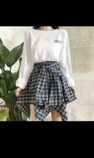 complicated checkered pleated plaid skirt ulzzang