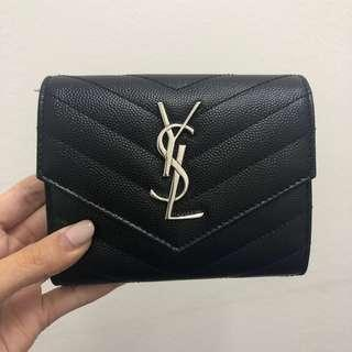 🚚 $990 100% Authentic YSL Tri-Fold Wallet - MONOGRAM COMPACT TRI FOLD IN GRAIN DE POUDRE EMBOSSED LEATHER