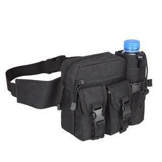 🚚 Waist Bag With Water Bottle Pocket Holder Water Resistant Tactical Assault Gear Molle Military Fanny Hip Belt Sling Pack Waterproof Phone Pouch Hydration Carrier HotGear for Outdoor Sports Camping Trekking Cycling Hiking Fishing