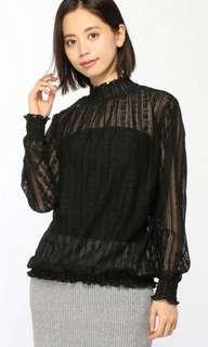 包順豐 全新 日本原單 黑色 lace 蕾絲 上衣
