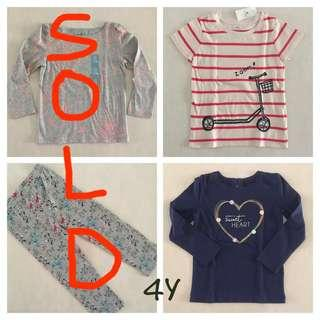 (4Y&5Y)Any 2 for $12.90 excludes postage! BN Baby Gap clothes