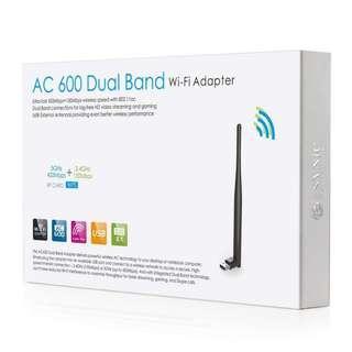 (BNIB) ESYNIC AC600 Dual Band USB WiFi WPS Wireless Network Adapter with 5DBi High Gain Antenna (Brand New Boxed)
