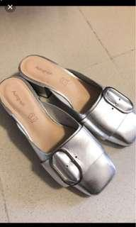 🈹M&S silver mules 瑪莎銀色百搭粗踭拖鞋