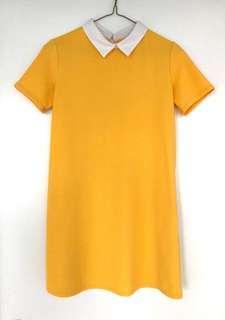 Beautiful Mustard Yellow Mini Dress With Collars