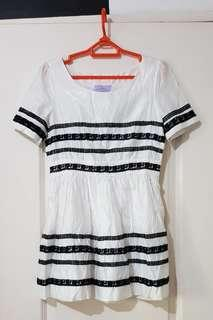 Korean White Mini Dress with Black Lace Applique