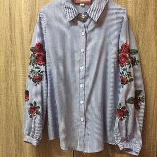 Embroidery Stripe Top/ Kemeja