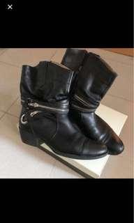 🈹staccato black leather boots 真皮軟熟黑色boot