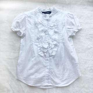 🚚 RL POLO 女童荷葉邊白襯衫 🎈3/3t 🎈九成新,正面有污