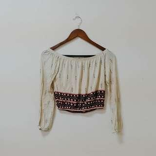 Boho off-shoulder crop top