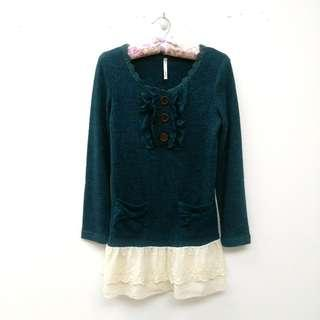 🚚 墨綠針織蕾絲長袖洋裝