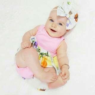 (Ready stock) floral pinky baby dress set