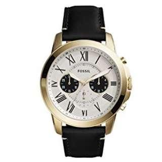 Fossil FS5272 Men Grant Chronograph Black Leather Watch