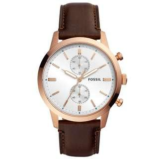 Fossil FS5468 Men's Townsman Chronograph Brown Leather Watch