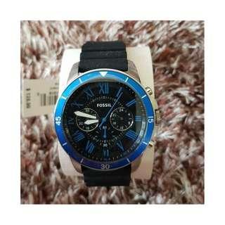 Fossil Men's FS5300 Grant Sport Chronograph Silicone Watch (Black & Blue)