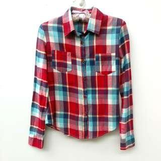 🚚 紅藍格紋配色長袖襯衫