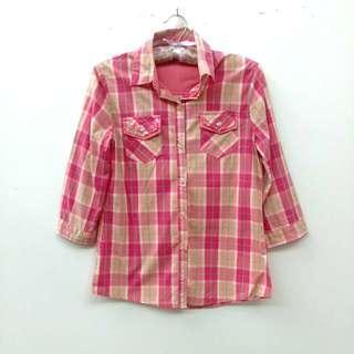 🚚 粉嫩格紋七分袖襯衫