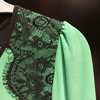Nichii Green Lacey Black Tops