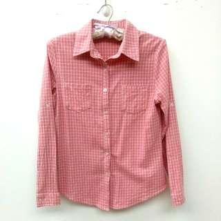 🚚 粉紅色細格紋長袖襯衫