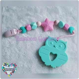 Handmade Silicone beads Pacifier Clip + Turquoise Elephant teether combo